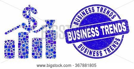 Geometric Dollar Trends Mosaic Icon And Business Trends Seal Stamp. Blue Vector Round Textured Stamp