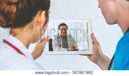 Doctor Telemedicine Service Online Video For Virtual Patient Health Medical Chat . Remote Doctor Hea