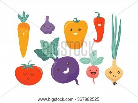 Cute Colored Cartoon Vegetable Characters. Funny Kawaii Food Characters. Flat Icons Pepper, Carrot,
