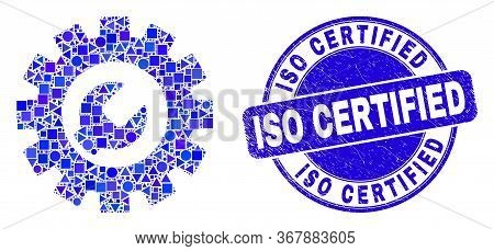 Geometric Setup Tools Mosaic Pictogram And Iso Certified Watermark. Blue Vector Rounded Textured Wat