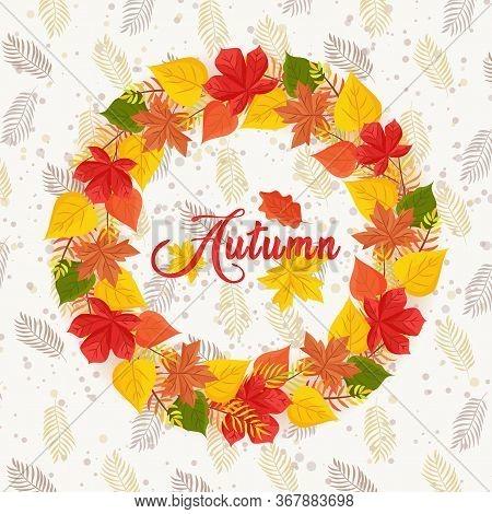 Hello Autumn Sales Banner, Sale Vector Illustration. Fall Season.  Thanksgiving Holiday Decoration.