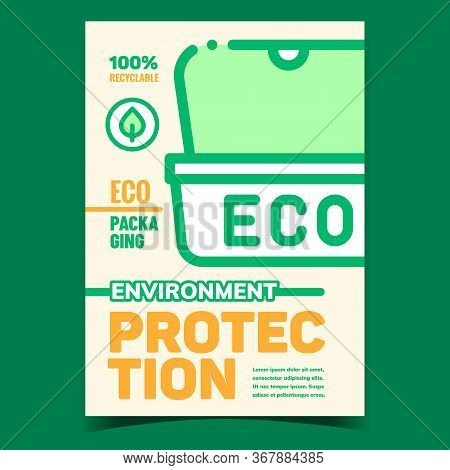 Environment Protection Promotional Banner Vector. Eco Container Packaging For Food Delivery, Environ