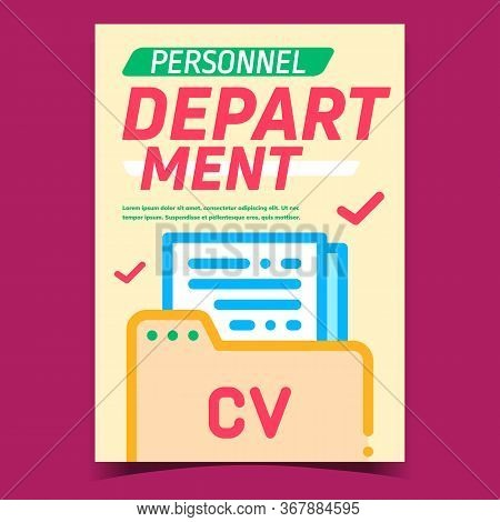 Personnel Department Promotional Poster Vector. Candidate Personnel Cv Document Files In Folder Arch