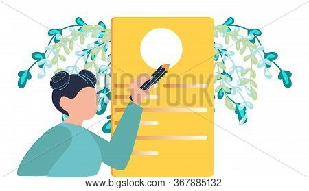 Hiring And Recruitment. Happy Woman Representation Of Resume. Woman Or Girl Writing Test With Paper