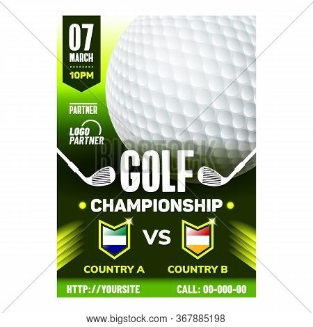 Golf Country Club Leisure Sport Banner Vector. Gaming White Ball And Golf Stick Tool For Play Game O