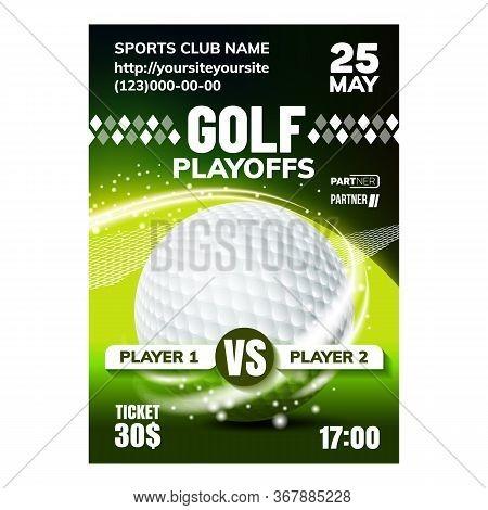 Golf Sport Field Ground Event Flyer Banner Vector. Golf Ball And Stick Equipment Sportive Playground