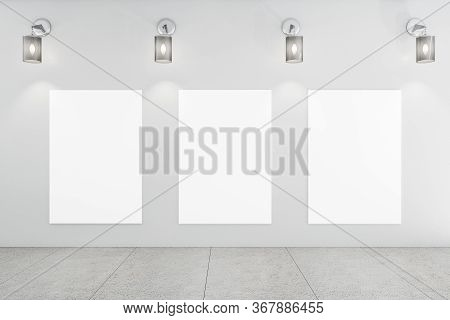 Modern Gallery Interior With Three Blank Banners On Wall. Gallery Concept. Mock Up, 3d Rendering