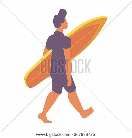 Isometric Young Man Walking With Surfing Board. Surf In Hands.