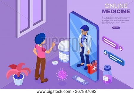 Isometric Online Medical Diagnostics And Doctors Workplace. Doctor Advises Patient Online About Viru