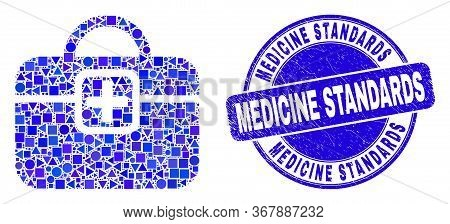 Geometric First-aid Case Mosaic Pictogram And Medicine Standards Seal Stamp. Blue Vector Round Scrat