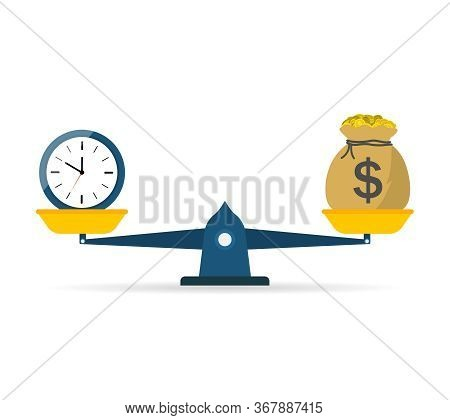Balance Scale Of Money And Time. Icon Of Compare Weight. Comparison Of Price And Work. Value Equity.