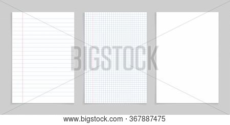 Paper Notebook For Note. White Sheet With Lines And Grid For School. Blank Pages Isolated On Gray Ba
