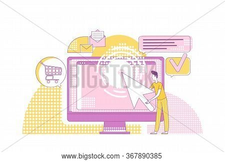 Ppc Marketing Thin Line Concept Vector Illustration. Computer User 2d Cartoon Character For Web Desi