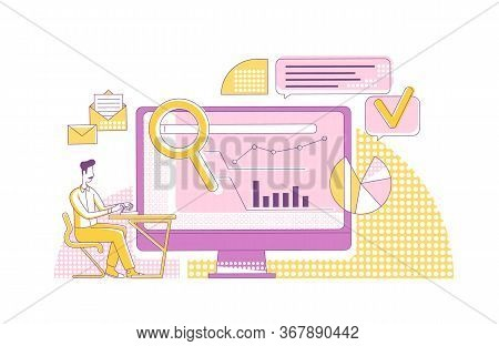 Content Marketing Metrics Thin Line Concept Vector Illustration. Marketer, Analyst 2d Cartoon Charac