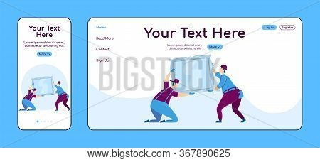 Hanging Mirror Adaptive Landing Page Flat Color Vector Template. Interior Decorating Mobile And Pc H