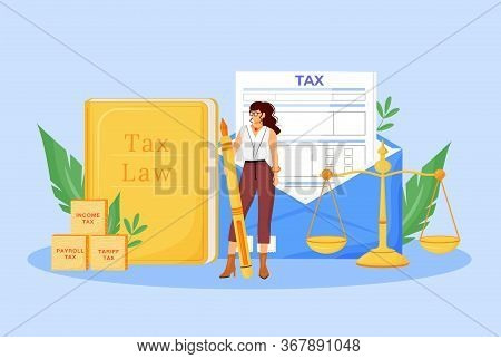 Tax Payment Expert Flat Concept Vector Illustration. Financial Consultant, Economist 2d Cartoon Char