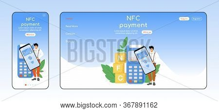 Nfc Payment Adaptive Landing Page Flat Color Vector Template. Contactless Transaction Mobile And Pc