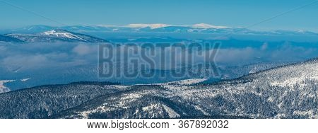 Krkonose Mountain Range With Snezka And Studnicni Hora Hills From Praded Hill In Jeseniky Mountains