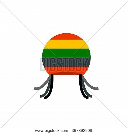 Icon Of Rastafarian Hat With Dreadlocks. Hippie, Reggae, Headwear. Narcotic Concept. Can Be Used For