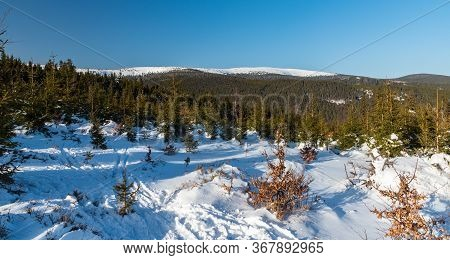 Winter Jeseniky Mountains With Vysoka Hole Hill And Velky Kotel And Maly Kotel Glacial Cirque In Cze