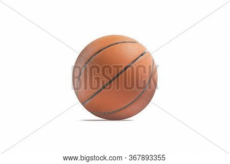Blank Rubber Basketball Ball Mockup, Side View, 3d Rendering. Empty Textured Round Basket-ball For D