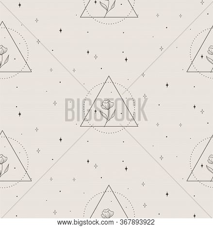 Vector Hand Drawn Line Drawing Doodle Floral Seamless Pattern With Flowers In Geometric Triangle Rou