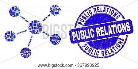 Geometric Relations Mosaic Icon And Public Relations Seal Stamp. Blue Vector Round Textured Seal Wit