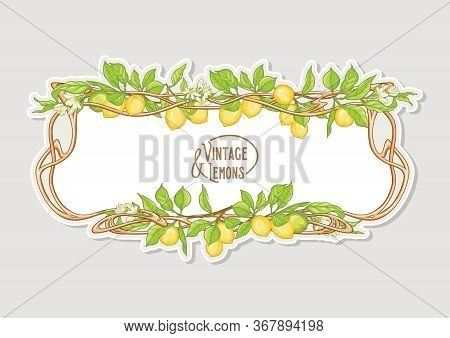 Frame In Art Nouveau Style With Lemon Fruits And Flowers Branches. Good For Product Label. Colored V