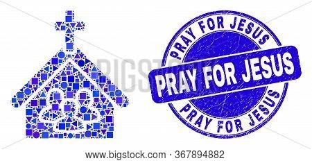 Geometric Church People Mosaic Icon And Pray For Jesus Watermark. Blue Vector Rounded Distress Water