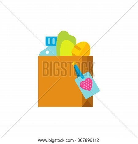 Icon Of Food Donate Box. Volunteer, Charity, Help. Altruism Concept. Can Be Used For Topics Like Wel