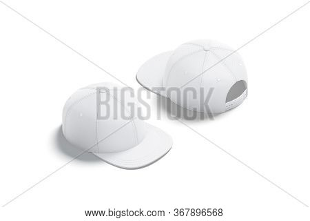 Blank White Jeans Snapback Mock Up, Front And Back, 3d Rendering. Empty Denim Headgear With Visor Mo