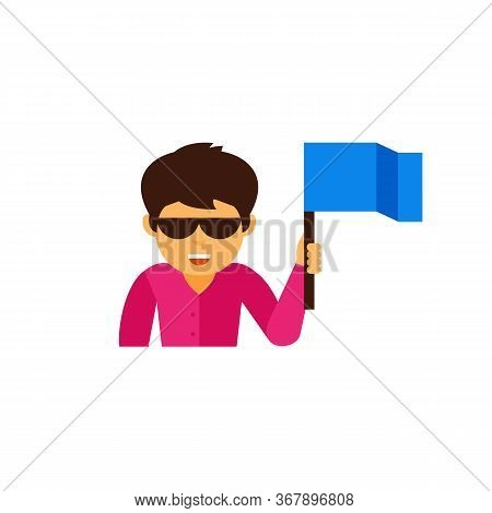 Icon Of Man Wearing Glasses Holding Freak Flag. Fan, Cheering, Festival. Handkerchief Style Concept.