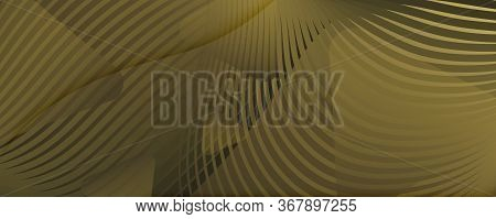 Abstract Vector Curve. Yellow Gradient Movement. 3d Fluid Line. Minimal Brochure. Golden Abstract Ve