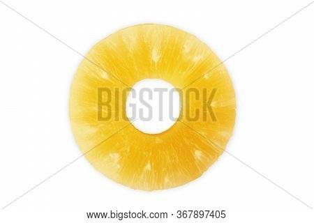 Canned Pineapple Slice On White Background Background, Isolated, On, Yellow, Nobody, Close-up,