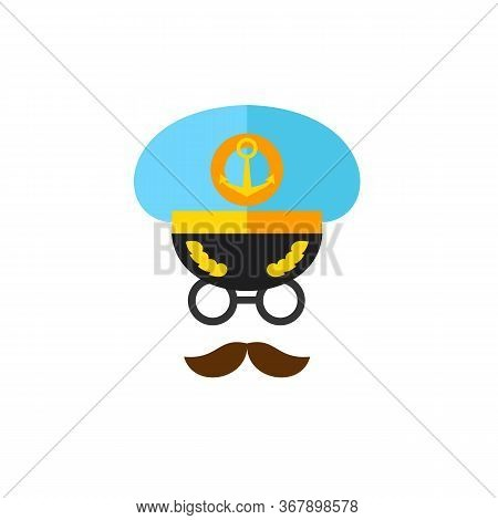 Icon Of Captain Face. Navigation, Seaman, Seafarer. Occupation Concept. Can Be Used For Topics Like