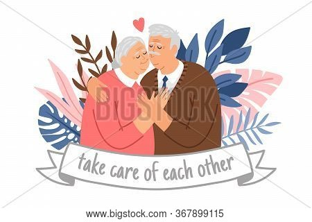 Caring Elderly Couple. Happy Grandparents Take Care Of Each Other, Cheering Adults, Cheerful Old Mal