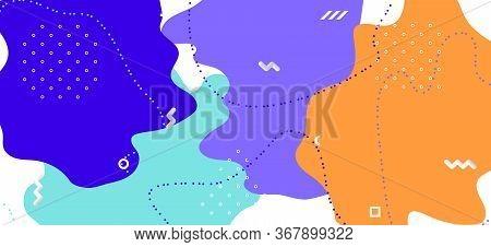 Multicolor Memphis Cover. Vector Abstract Wallpaper. Futuristic Wave Ornament. Colorful Cool Ornamen