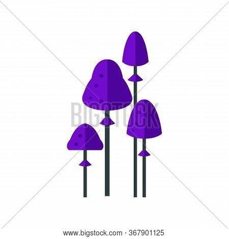 Icon Of Purple Psilocybin Mushrooms. Toadstools, Poisonous Mushrooms, Danger. Narcotic Concept. Can
