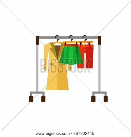 Icon Of Hanger Rack With Warm Coat, Skirt And Breeches. Women Clothes, Clothing Store, Female Wardro