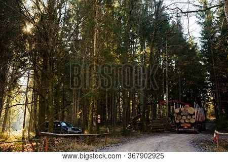 Kaiserwald, Austria - 21.01.2020: Crane In Forest Loading Logs In The Truck. Timber Harvesting And T