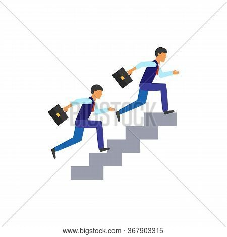Icon Of Two Business Colleagues Running Up The Stairs. Rivalry, Promotion, Job Ladder. Competition C