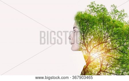 Double Exposure Of Nature Tree And Woman Portrait, Natural Body Skin Care For Beauty Face Concept. C