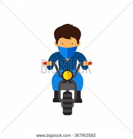 Man Riding Bike Wearing Bandit Style Handkerchief. Bandana, Protective Wear, Motorcycle. Handkerchie
