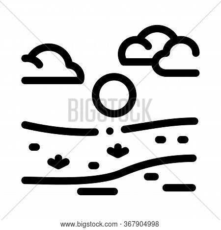 River Landscape In Sunny Weather Icon Vector. River Landscape In Sunny Weather Sign. Isolated Contou