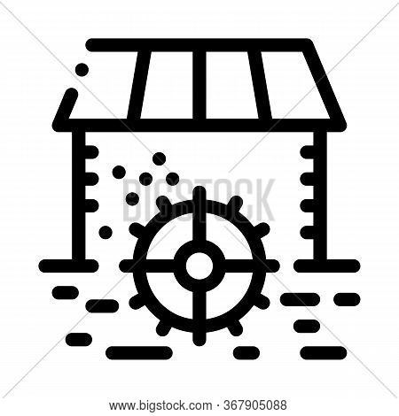 House By River Icon Vector. House By River Sign. Isolated Contour Symbol Illustration