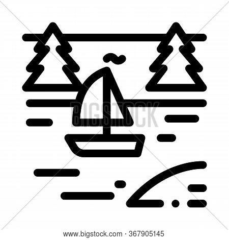 Boat In River Landscape Icon Vector. Boat In River Landscape Sign. Isolated Contour Symbol Illustrat