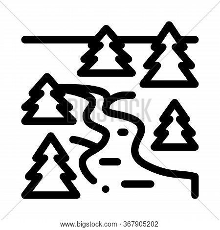 Flowing River Among Coniferous Forests Icon Vector. Flowing River Among Coniferous Forests Sign. Iso