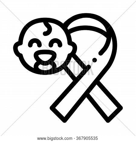 Hiv Infected Newborn Baby Icon Vector. Hiv Infected Newborn Baby Sign. Isolated Contour Symbol Illus