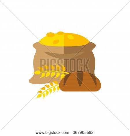 Icon Of Bread And Sack Of Grain. Ingredient, Carbohydrate, Product. Wheat Concept. Can Be Used For T