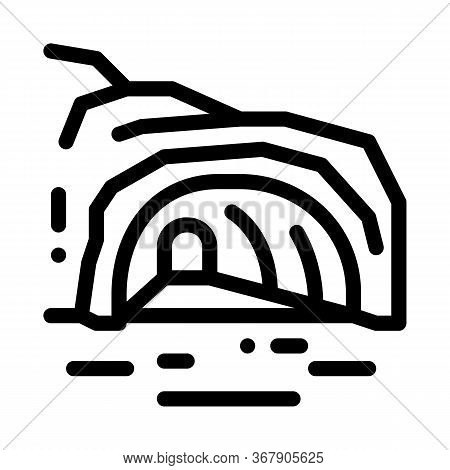 Mountain Cave Gorge Icon Vector. Mountain Cave Gorge Sign. Isolated Contour Symbol Illustration